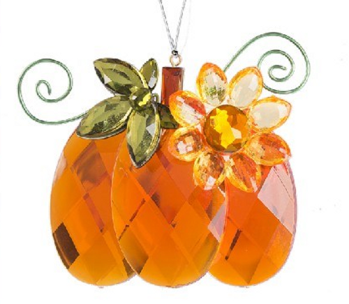 Crystal Expressions Pumpkin with Sunflower Ornament