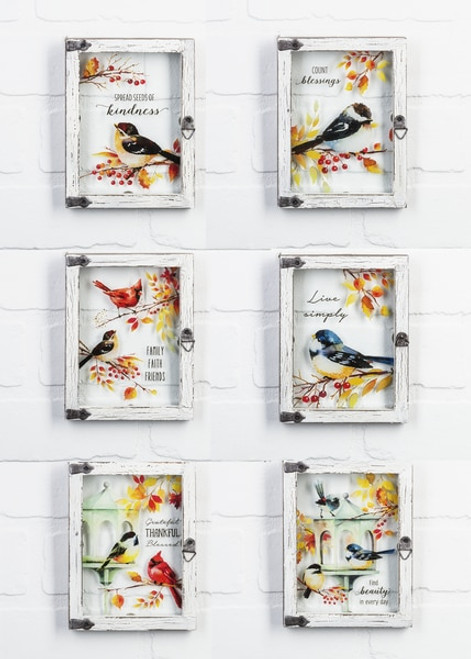 Ganz Gift Framed Bird Plaques, each