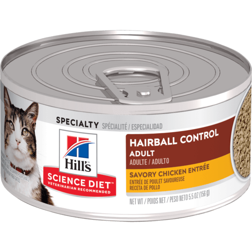 Hill's Science Diet Adult Hairball Control Savory Chicken Entree Canned Cat Food, 5.5 Oz.
