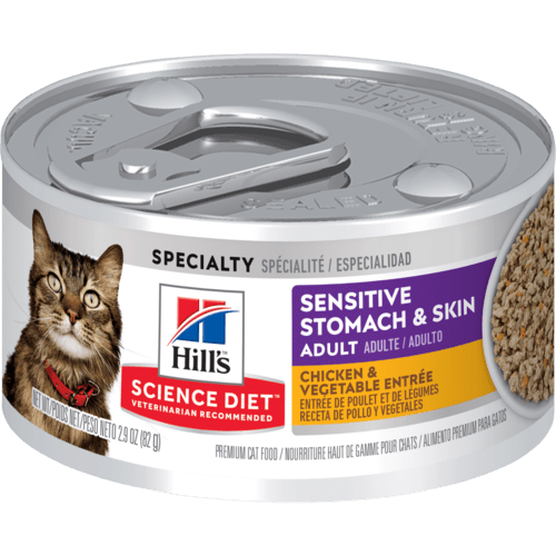 Hill's Science Diet Sensitive Stomach & Skin Chicken & Vegetable Entree Canned Cat Food, 2.9 Oz.