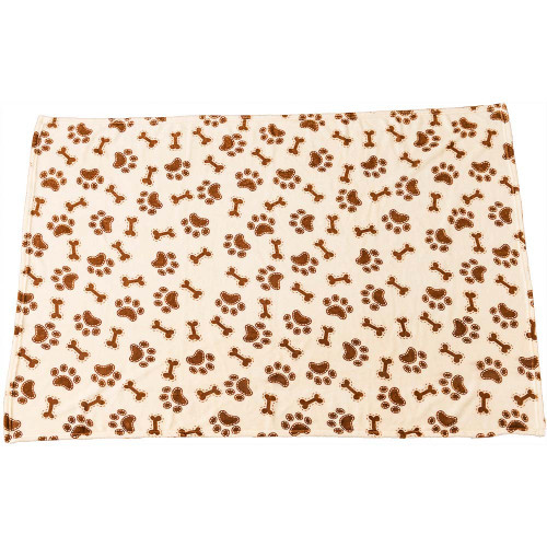 Ethical Snuggler Bones/Paws Print Blanket, Cream, 40x58