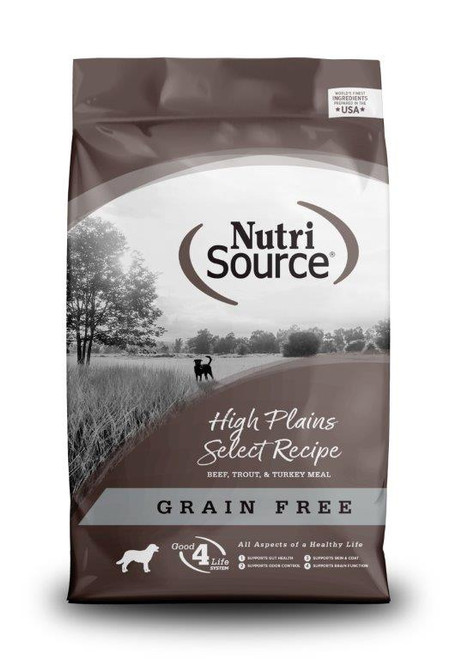NutriSource Grain Free High Plains Select Beef, Trout, & Turkey Dry Dog Food, 30 Lbs.
