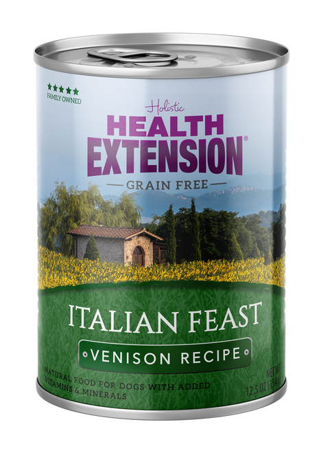 Health Extension Grain Free Italian Feast Venison Recipe Canned Dog Food, 12.5 Oz.