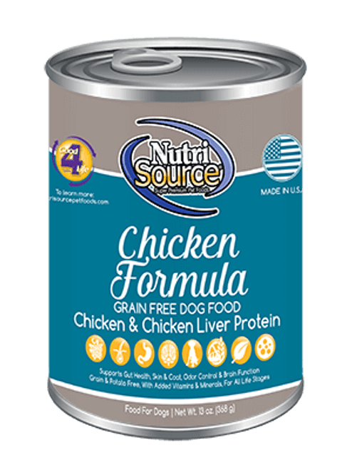 NutriSource Chicken Formula Grain Free Canned Dog Food, 13 Oz.