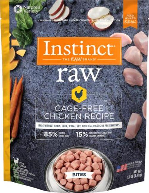 Nature's Variety Instinct Frozen Raw Bites Grain-Free Cage-Free Chicken Recipe Dog Food