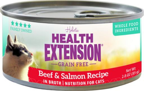 Health Extension Grain Free Beef & Salmon Recipe Canned Cat Food, 2.8 Oz.