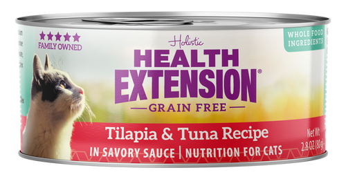 Health Extension Grain Free Tilapia & Tuna Recipe Canned Cat Food, 2.8 Oz.