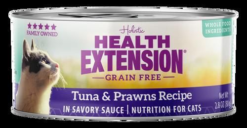Health Extension Grain Free Tuna & Prawns Recipe Canned Cat Food, 2.8 Oz.