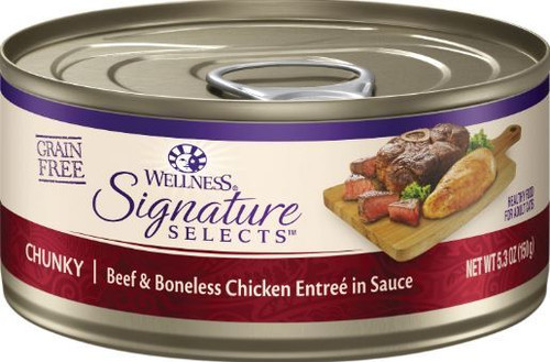 Wellness Signature Selects Grain Free Chunky Beef & Boneless Chicken Entree Canned Cat Food, 5.3 Oz.