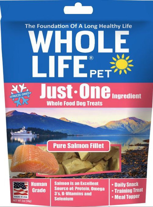 Whole Life Just One Ingredient Pure Salmon Fillet Freeze Dried Dog Treats, 2 Oz.