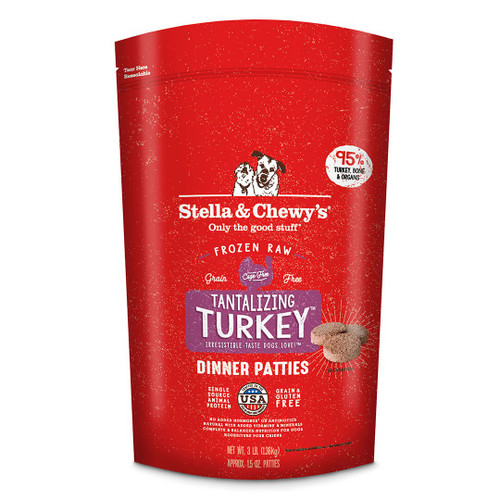 Stella & Chewy's Frozen Raw Tantalizing Turkey Dinner Patties Dog Food