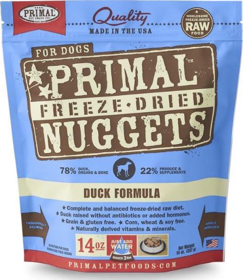 Primal Grain Free Raw Freeze-Dried Duck Nuggets Dog Food, 14 Oz.