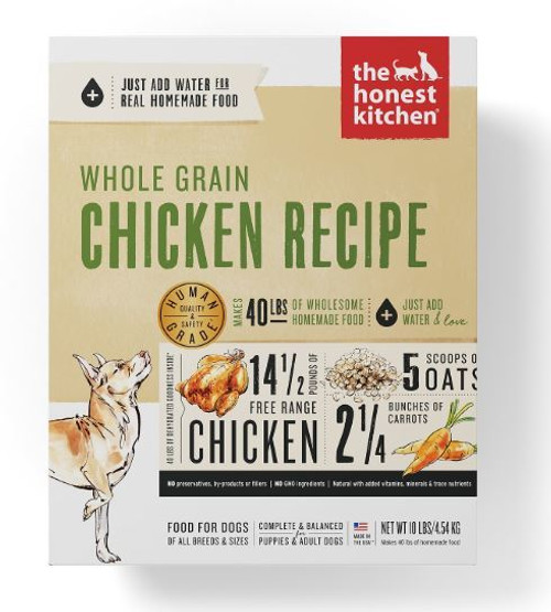 The Honest Kitchen Whole Grain Dehydrated Chicken Recipe Dog Food, 10 Lbs.
