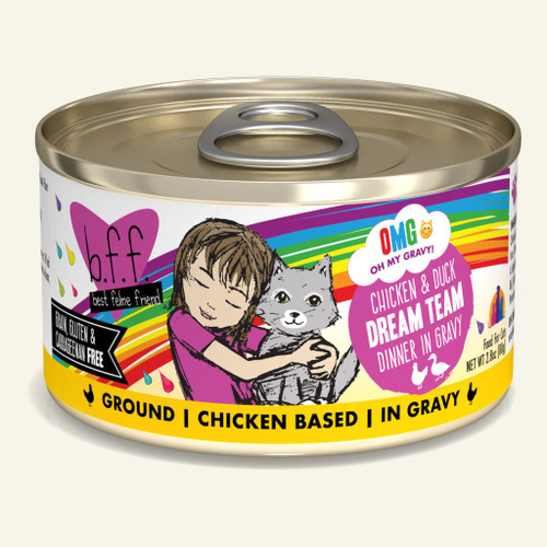Weruva BFF OMG Dream Team Chicken & Duck Canned Cat Food, 2.8 Oz.