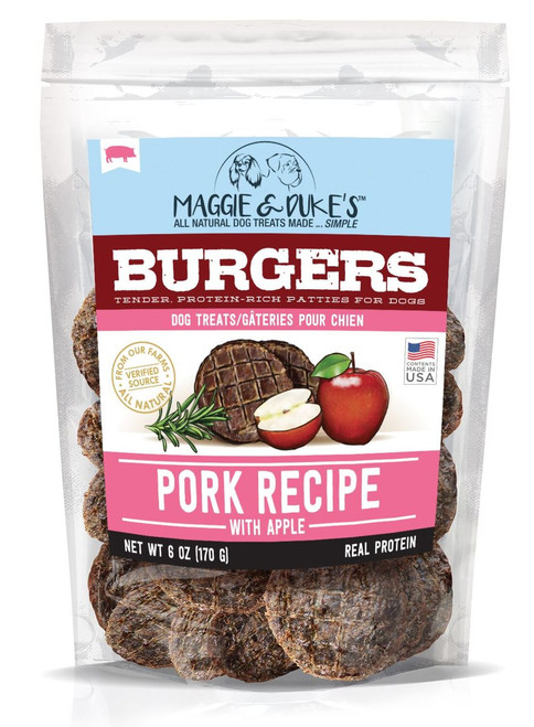 Maggie & Duke's Pork With Apple Burgers Dog Treats, 6oz.