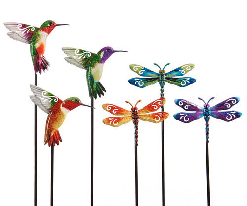 Giftcraft Nature's Conservatory Dragonfly & Hummingbird Design Plant Stakes