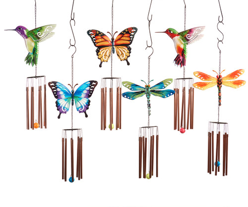 Giftcraft Nature's Conservatory Dragonfly, Hummingbird, & Butterfly Design Windchime