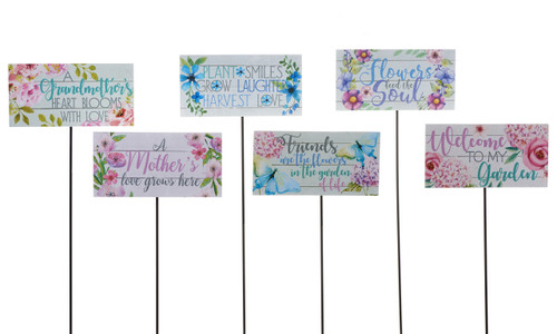 Giftcraft Floral Print Sentiment Garden Stake