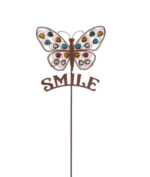 Giftcraft Cooper Jeweled Butterfly With Smile Sentiment Garden Stake