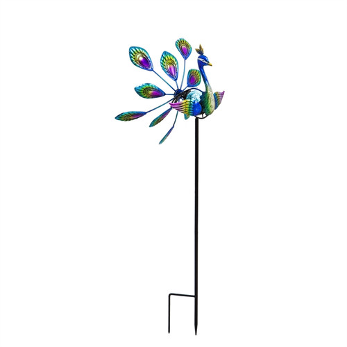 """Evergreen Solar Peacock Staked wind Spinner, 36"""""""