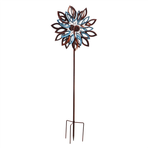 """Evergreen Copper And Verdigris Leaves Wind Spinner Kinetic Stake, 75"""""""