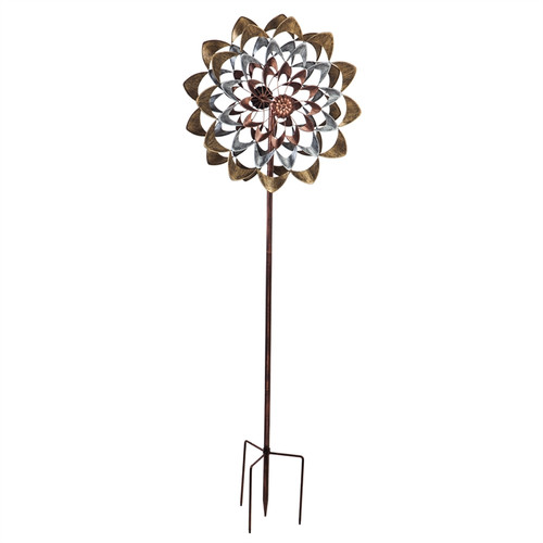"""Evergreen Copper And Gold Flowers Wind Spinner Kinetic Stake, 75"""""""