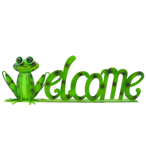 Direct International Metal Green Frog Welcome Sign