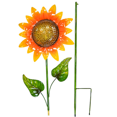 Direct International Metal Sunflower W/2 Leaves Stake, 61""