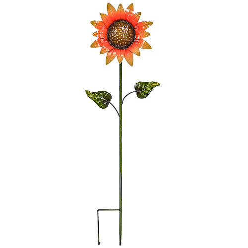 Direct International Metal Sunflower W/2 Leaves Stake, 47""