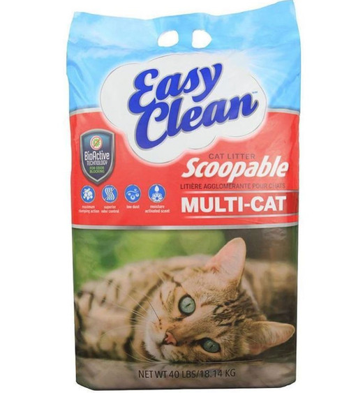 Pestell Easy Clean Multi-Cat Scoopable Cat Litter, 40 Lbs.