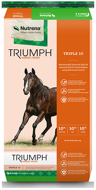 Nutrena Triumph Triple 10 Textured Horse Feed, 50 Pounds
