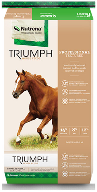 Nutrena Triumph Professional Textured Horse Feed, 50 Pounds