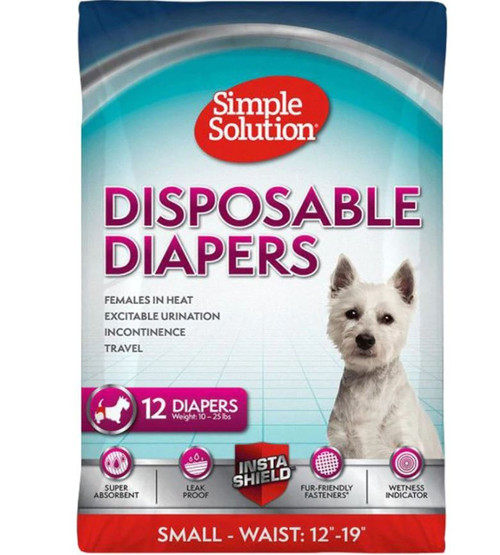 Simple Solution Disposable Diapers For Dogs, Small, 12 Pack