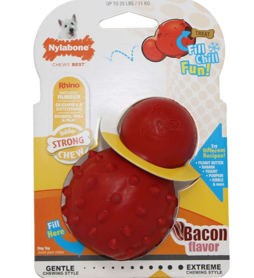 Nylabone Strong Chew Rhino Cone Dog Toy, Bacon Flavor