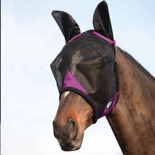 Weatherbeeta Comfitec Durable Mesh Mask With Ears, Black/Purple