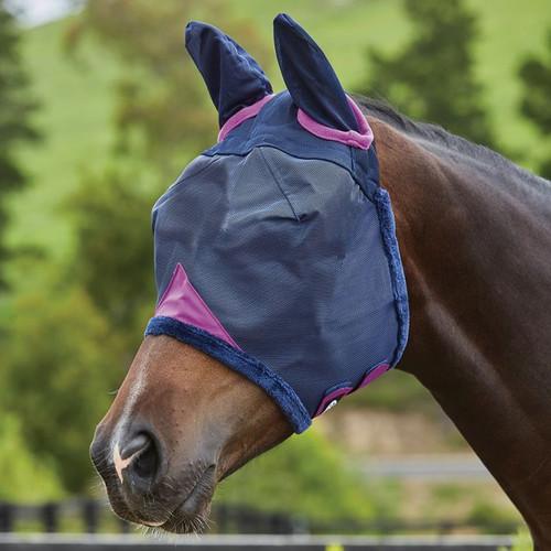 Weatherbeeta Comfitec Durable Mesh Mask With Ears, Navy/Purple