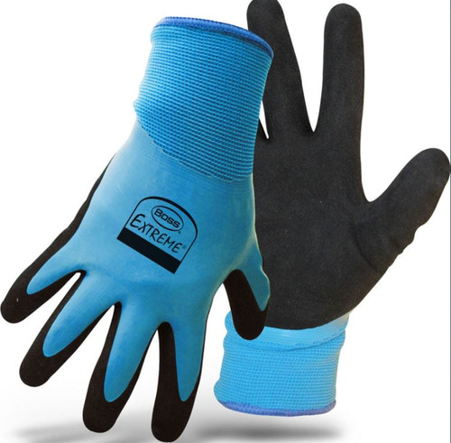Boss Water Resistant Double Dip Latex Gloves, Large