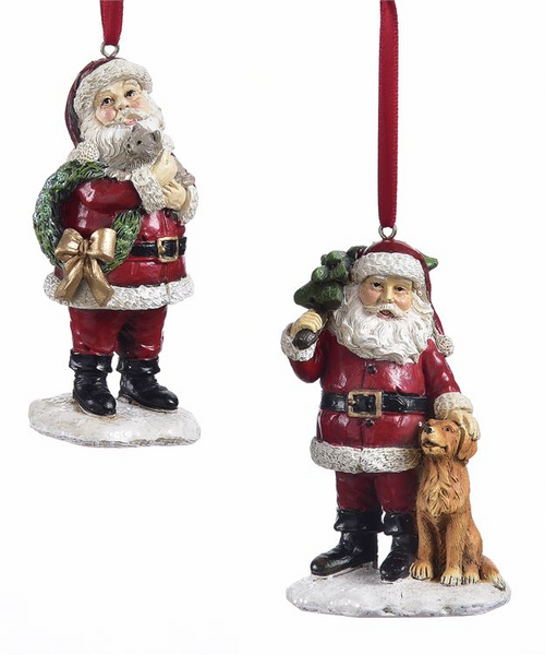 GiftCraft Polyresin Santa with Pet Ornament