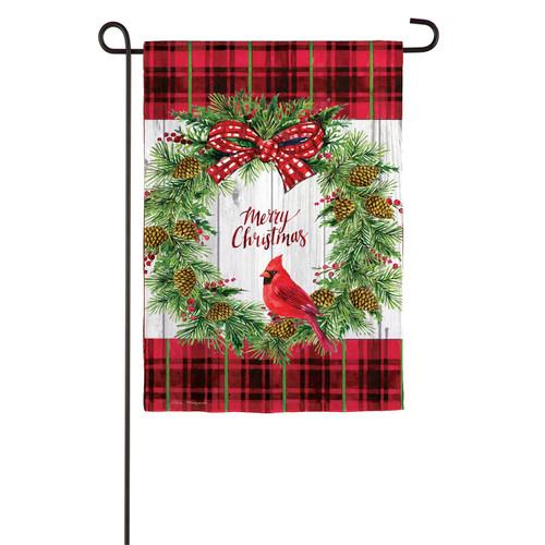 Evergreen Flag Cardinal Wreath Garden Flag