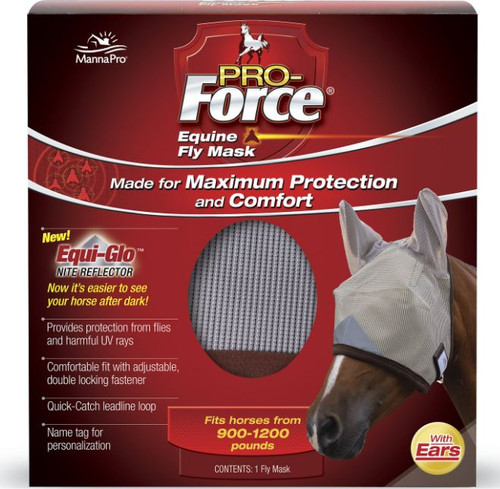 Manna Pro Pro-Force Covered Ears Equine Fly Horse Mask, Large