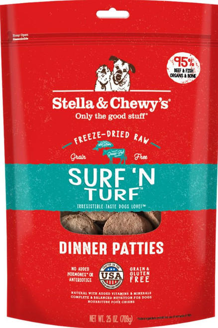 Stella & Chewy's Freeze-Dried Raw Surf 'N Turf Dinner Patties Dog Food, 25 Oz.