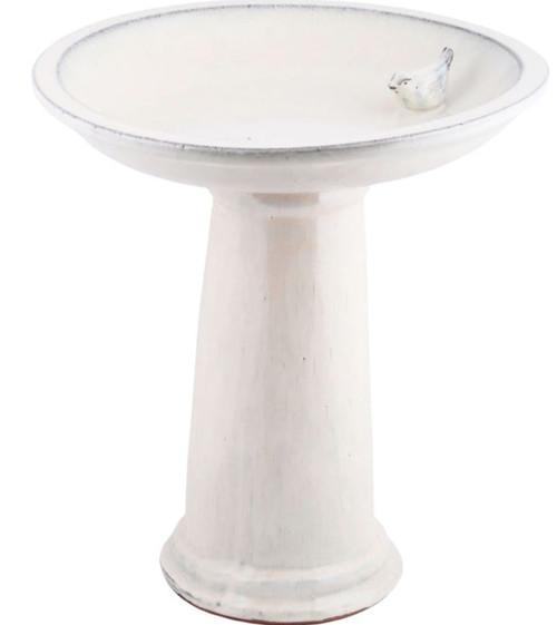 Esschert Ceramic Bird Bath On Pedestal W/Bird