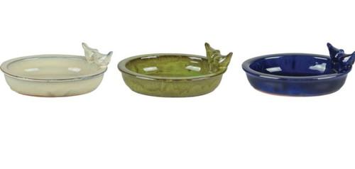 Esschert Ceramic Oval Bird Bath W/Birds, Assorted
