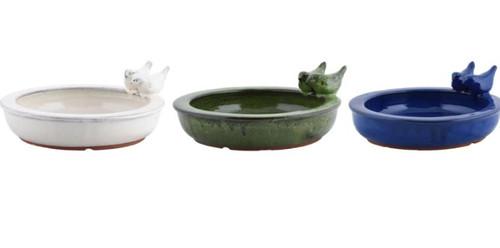 Esschert Ceramic Round Bird Bath W/Birds, Assorted
