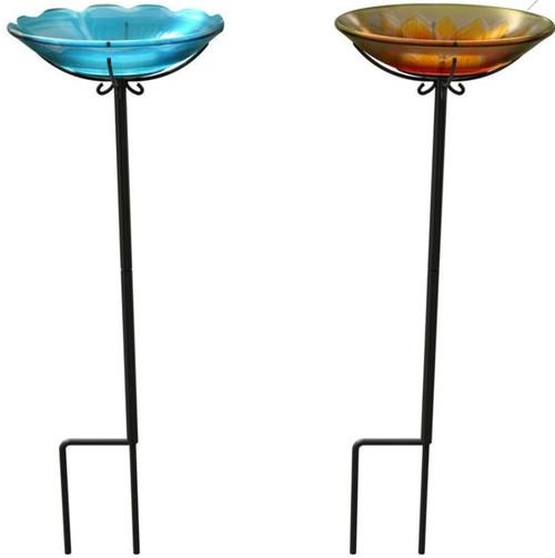 Panacea Products Glass Flower Bird Bath W/Yardstake