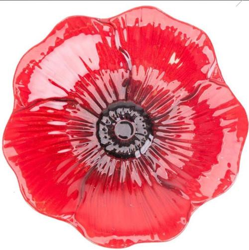 "Panacea Products Glass Red Poppy Bird Bath W/Stand, 16"""