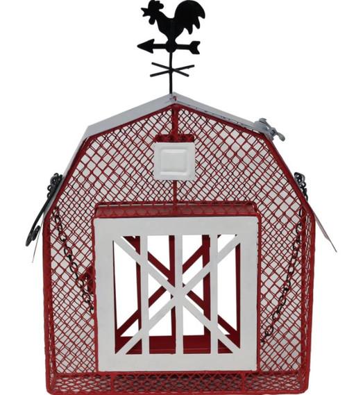 Songbird Essentials Mesh Barn Seed & Suet Feeder, Red