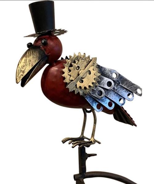 Esschert Design Metal Mechanical Bird Rocker W/Top Hat