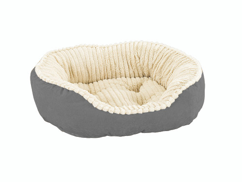 """Ethical Pet Sleep Zone Carved Plush Pet Bed, 21"""", Gray"""