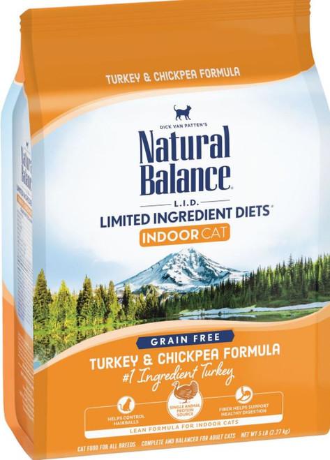 Natural Balance L.I.D. Grain-Free Turkey & Chickpea Formula Dry Cat Food, 5Lb. Bag